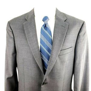 Jos A Bank 40R Sharkskin Gray Wool Tailored Fit